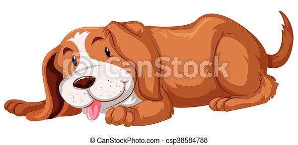 mignon, fourrure, chien, brun - csp38584788