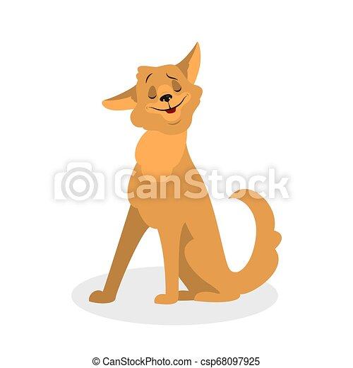 mignon, fourrure, sitting., brun, caractère, chien, rigolote, chiot - csp68097925