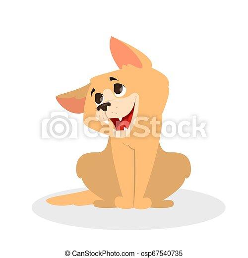 mignon, fourrure, sitting., brun, caractère, chien, rigolote, chiot - csp67540735