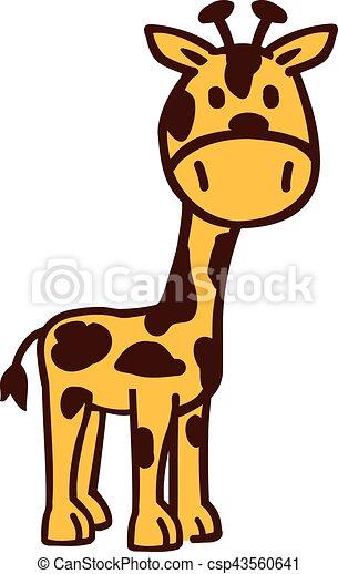 mignon, girafe, dessin animé - csp43560641
