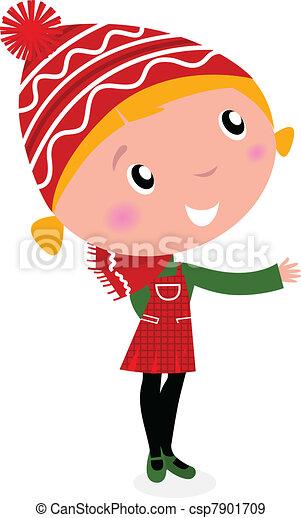 mignon, girl, isolé, noël, déguisement, blanc, dessin animé, rouges - csp7901709