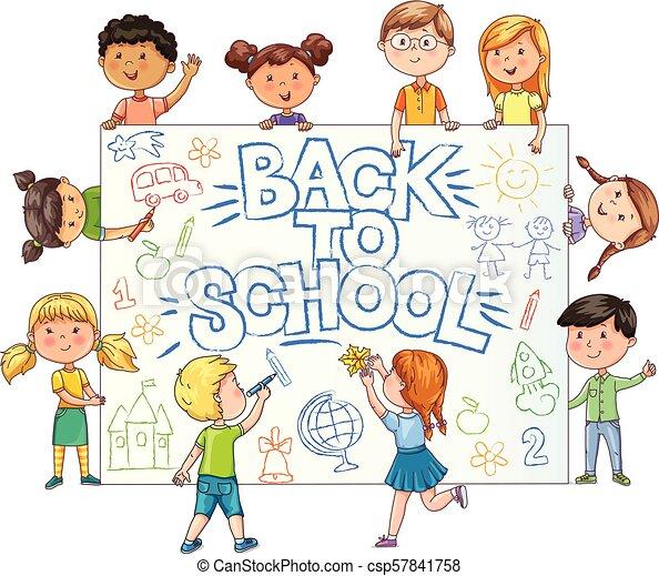 mignon, gosses école, childrens, peint, dos, prise, bannière, dessin - csp57841758