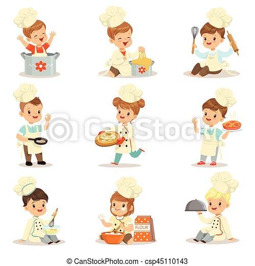 Mignon Gosses Cuisson Toque Nourriture Manteau Cuisine Dessin Animé Chef Ensemble Préparer Caractères Petit Double Brested Chapeau