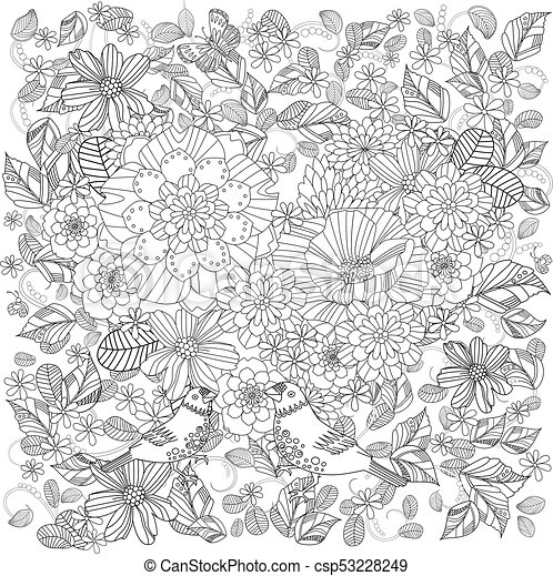 Mignon, jardin fleur, couple, fantaisie, oiseaux, coloration, ton ...