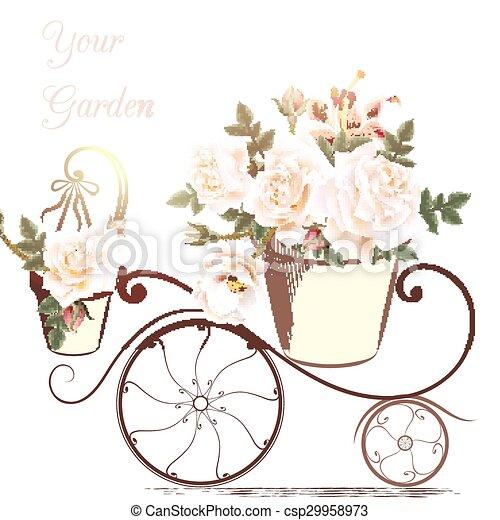 Mignon, jardin, rose, potier, illustration, fleurs, ton.