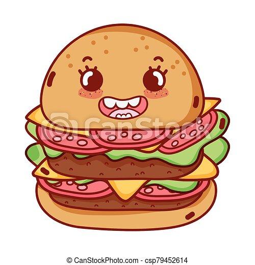 Mignon Jeune Isole Icone Nourriture Dessin Anime Hamburger Kawaii Mignon Jeune Illustration Isole Vecteur Icone Canstock