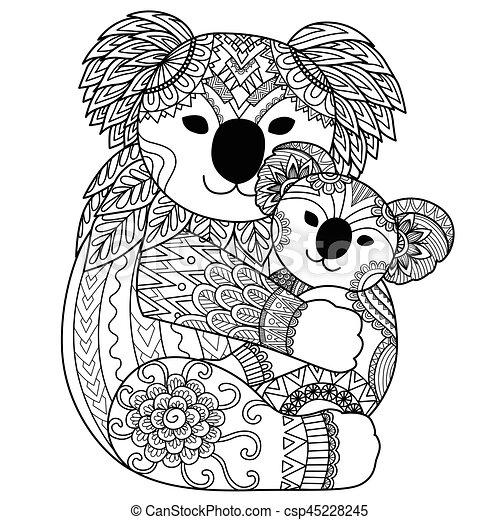 Mignon, koala. Caresser, coloration, koala, elle ...