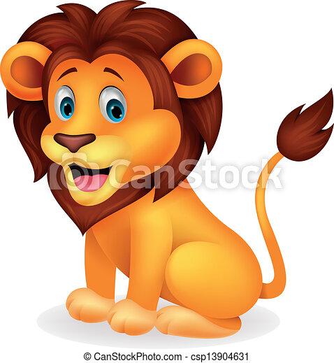 mignon, lion, dessin animé - csp13904631