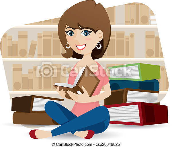 Mignon Livre Bibliotheque Lecture Fille Dessin Anime