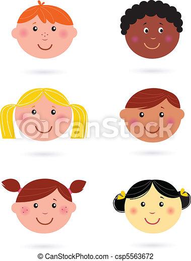 mignon, multiculturel, enfants, têtes - csp5563672