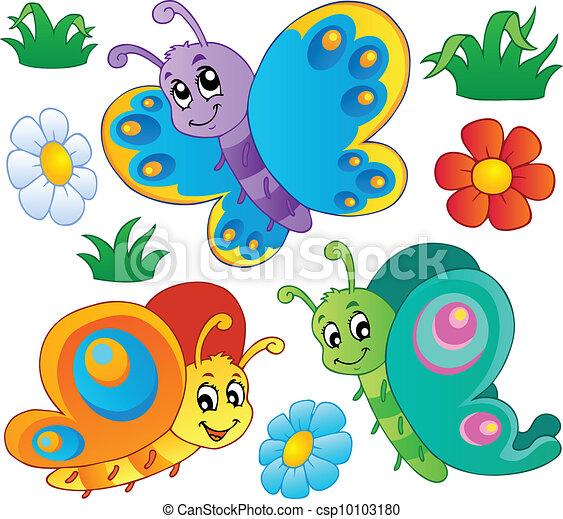 mignon, papillons, 3, collection - csp10103180