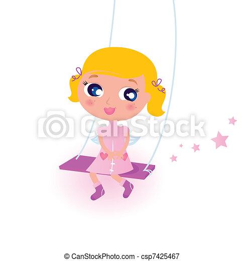 mignon, petit ange, isolé, noël, blanc, girl - csp7425467