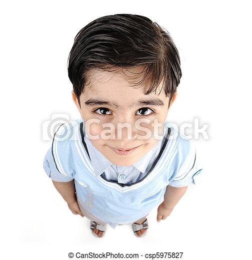 mignon, petit garçon, course, blanc, -, isolé, américain, africaine, mélangé, arabe, blanc, préscolaire - csp5975827