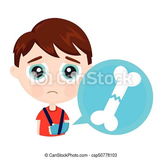 mignon, petit garçon, triste, cassé, enfant, bras, os, gosse - csp50778103