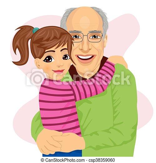 Mignon Petite Fille étreindre Elle Grand Père