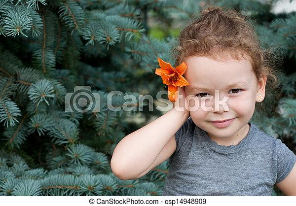 mignon, peu, été, parc, girl, jour - csp14948909
