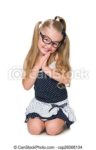 mignon, peu, assied, girl - csp26068134