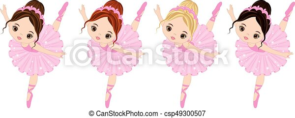 mignon, peu, ballerines, cheveux, couleurs, vecteur, divers - csp49300507