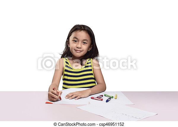 Mignon Peu Coloré Crayon Fille Asiatique Dessin