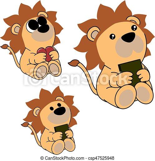 Mignon Peu Ensemble Lion Bébé Agréable Dessin Animé Mignon