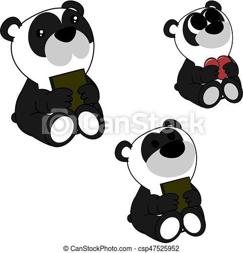 Mignon Peu Ensemble Ours Panda Bébé Agréable Dessin Animé
