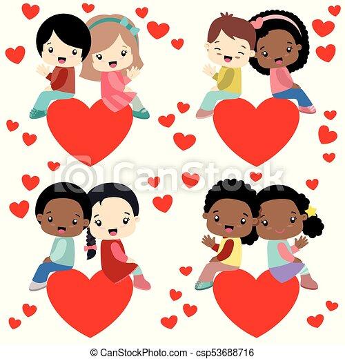 Mignon Peu Ensemble Séance Valentines Enfants Couples Divers Cœurs Jour Carte