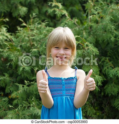 mignon, peu, ensoleillé, parc, girl, jour - csp30053993