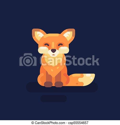 mignon, peu, illustration., plat, renard, sourire, icône - csp55554657