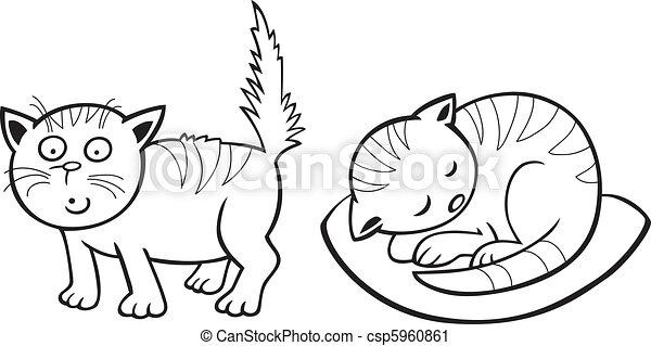 mignon, peu, livre coloration, chats - csp5960861