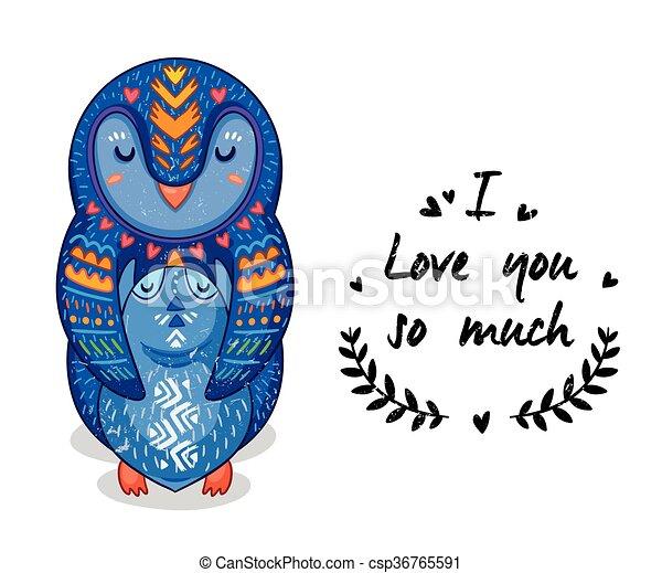 Mignon Pingouins Amour Texte Illustration Beaucoup Ainsi Vous