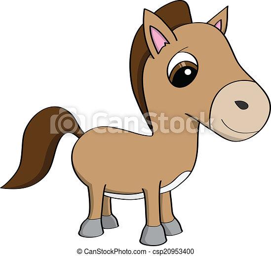 Mignon poney dessin anim illustration mignon peu poney brun grand illustration eyes - Pony dessin anime ...