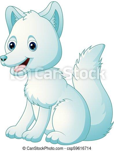 mignon, renard arctique, dessin animé, séance - csp59616714