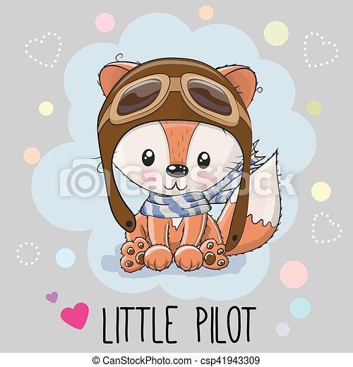 Très Clipart Vecteur de mignon, renard, dessin animé - mignon, pilote  AH58