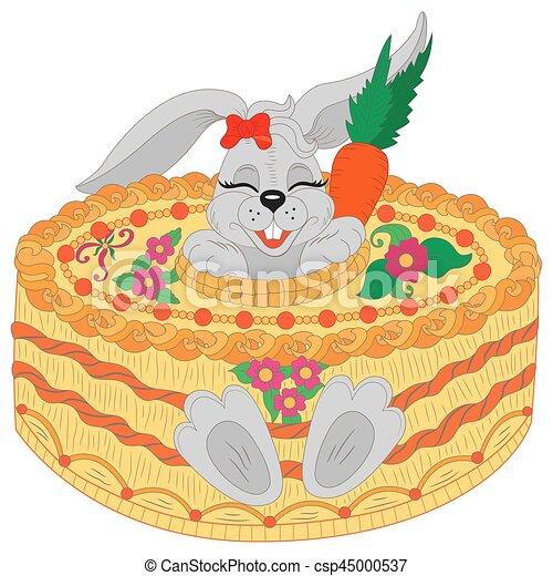 Mignon Salutation Anniversaire Lapin Birthday Heureux Carte Cake