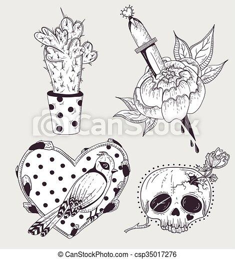 Mignon Set Fleur Cactus Tatouage Mignon Heart Crane