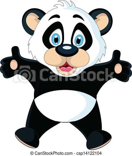 Mignon Sien Main Levee Bebe Panda Mignon Sien Illustration