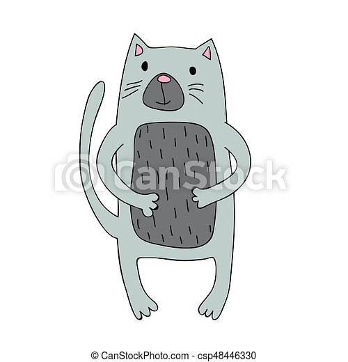 Mignon Simple Caractère Isolé Illustration Chat Vecteur Dessin Animé Style