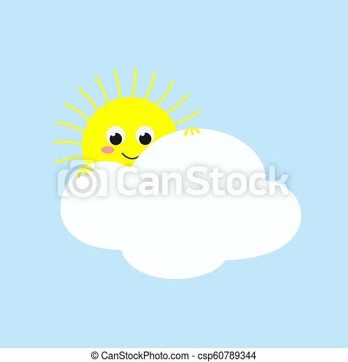 mignon, soleil, illustration, regarder, vecteur, cloud., dehors - csp60789344
