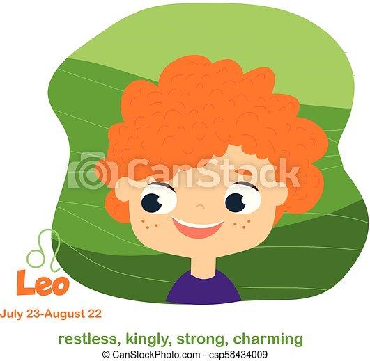 Mignon Style Gosses Horoscope Signe Leo Dessin Animé Symboles Zodiac Astrologique Type Caractère Bébé Enfants
