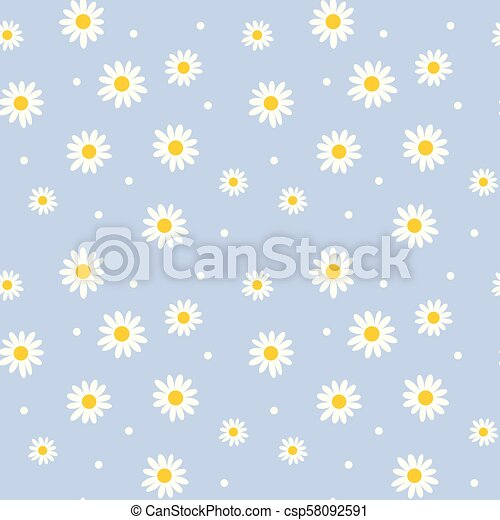Mignon Style Tissu Simple Motif Pattern Seamless Couleur Retro Fond Pâquerette Floral Fleurs Blanches