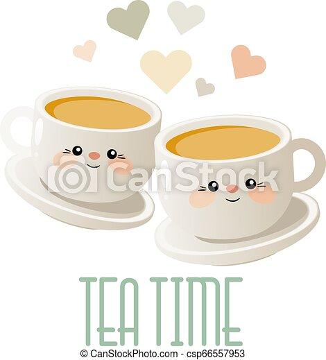 mignon, thé, deux, illustration, time., tea., vector., tasses - csp66557953