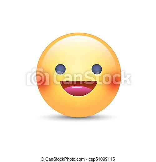 Mignon Type Caractere Jaune Emoji Realiste Vecteur Smiley Sourire Amusement Eyes Heureux Ouvert Dessin Anime Emoticon