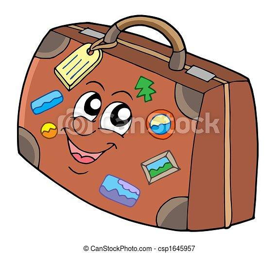 Mignon valise mignon illustration isol fond - Dessin de valise ...