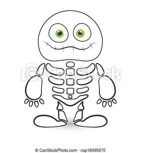 Squelette Dessin Halloween.Mignon Vecteur Squelette Monstre