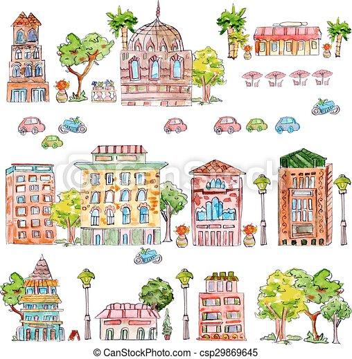mignon, vendange, maison, collection, aquarelle, arbres., peinture - csp29869645