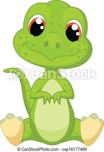 mignon, vert, dessin animé, dinosaure - csp16177499