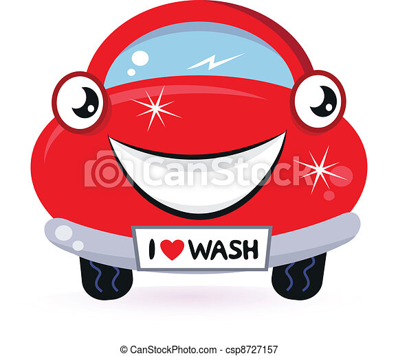 mignon, voiture, isolé, laver, blanc rouge - csp8727157