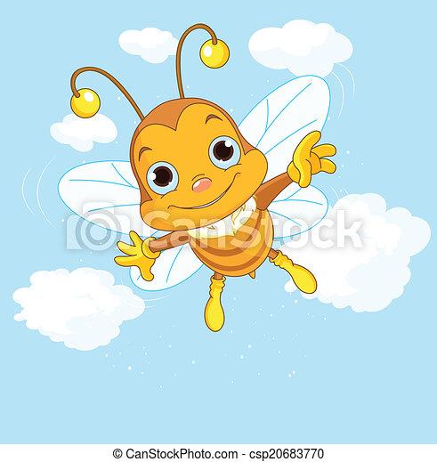 mignon, voler, ciel, abeille - csp20683770