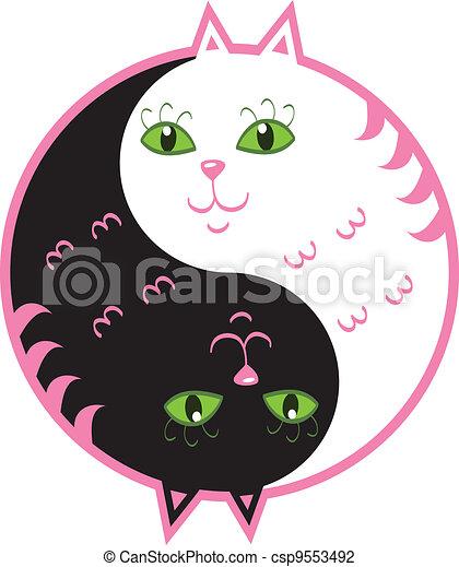 mignon, yin, chats, yang - csp9553492