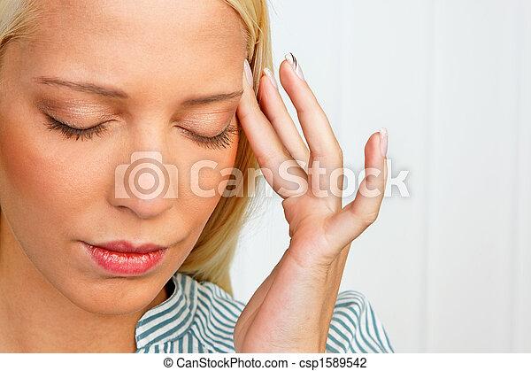 migrena, kobieta, młody, ból głowy - csp1589542